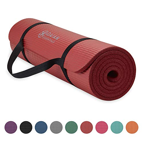 Gaiam Essentials Thick Yoga Mat Fitness & Exercise Mat with Easy-Cinch Yoga Mat Carrier Strap, Red, 72'L x 24'W x 2/5 Inch Thick