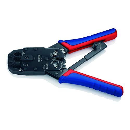KNIPEX 97 51 12 Crimpzange für Westernstecker brüniert mit Mehrkomponenten-Hüllen 200 mm