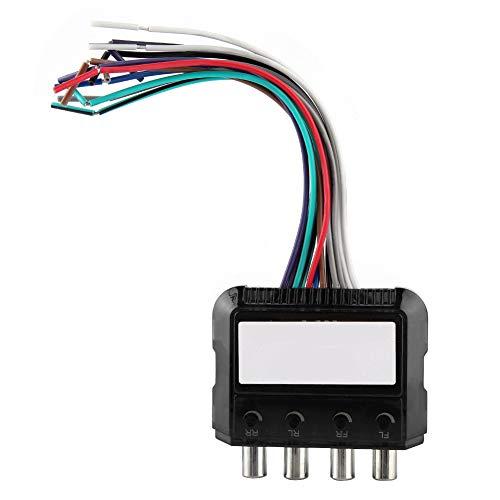 XiangXin Audiokonverter, Autoradio-Subwoofer 4-Kanal-Hoch-Niedrig-Audiokonverter mit Leistungsverstärker-Steuerkabel für CD, Radio, DVD, Kunststoffschwarz