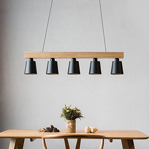 ZMH Lampe Suspension Luminaire Plafonnier E27 avec 5 Flammes Lampe Industrielle en Bois et Métal Hauteur Réglable pour Salle à Manger Salon Café Bureau Chambre