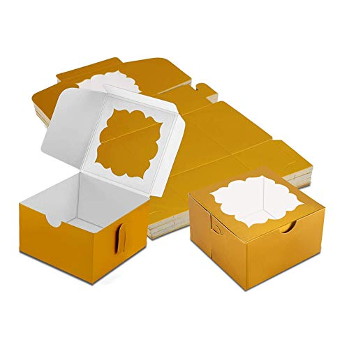 50 Pack Bakery Boxes with Window Pastry Boxes Dessert Boxes Treat Boxes Cookie Boxes for Gift Giving 4x4x2.5 inches (Gold)
