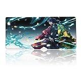 Tttyy Alfombrilla de ratón para Juegos Grande Anime Demon SLA-yers Giyu Tomioka Kimetsu Water Pillar, Alfombrilla de ratón con Marco de Borde Cosido y Base de Goma Antideslizante