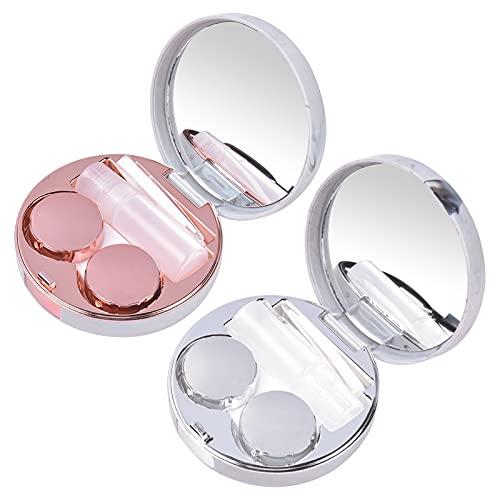 AvoDovA Kontaktlinsenbehälter mit Spiegel, 2 Stk Kontaktlinsenbehälter mit Pinzette und Saugnapf, Tragbarer Kontaktlinsen Etui Reise, Kontaktlinsen Zubehör Set Kunststoff