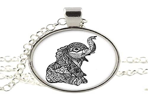 Collar de cristal con colgante de elefante para mujer