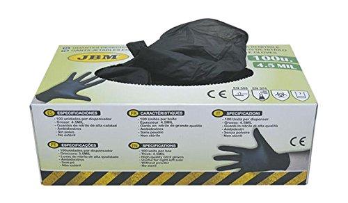 JBM 52682 Caja de 100 guantes de nitrilo, color negro, 4,5 mm, talla L