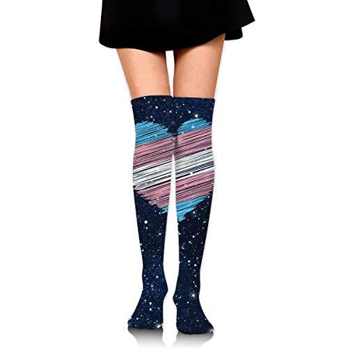 Nice-Guy Transgender Flag Heart Frauen gehäkelte Oberschenkel hohe Socken über dem Knie hohen Strumpf