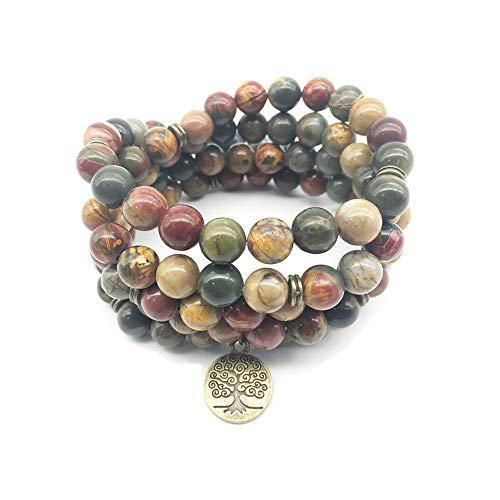 Labradorita Wrap Bracelet con 2019 Top Conception Design 108 Mala Yoga Pulsera o collar Ohm Charm Bracelet (vetas de la madera)
