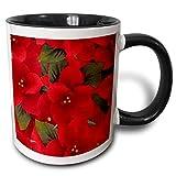 Tazza da caffè in ceramica, tazza con motivo Poinsetta natalizio 'Tazza nera bicolore, 11 once, multicolore