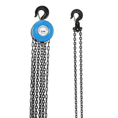 Palan à chaîne manuel, palan à levier à cliquet avec crochet, capacité de levage de 2 tonnes et hauteur de levage de 3 m, pour les zones de construction de garages d'entrepôt, bleu