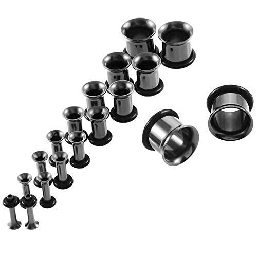 18 unids Acero inoxidable Ear Taper Taper Stiring Kit Gauge expander Flesh Ear Tunnel Taps Librebe Pendiente Piercing Kit de inicio 14G-00G-B-negro