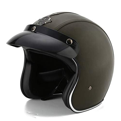 Damen Jethelm Helme Chopper Scooter Leder 3/4 Jethelm Motorrad mit Visier