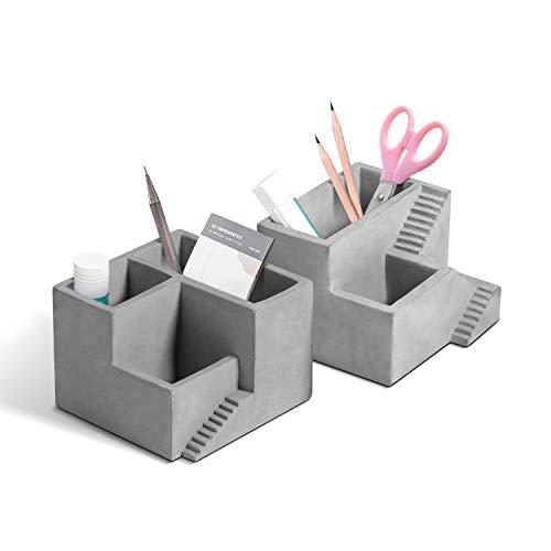 T4U Zement Stifthalter Tisch-Organizer Grau 2er-Set Beton Deko für Büro Schreibtisch - 2 Abteile und 3 Abteile