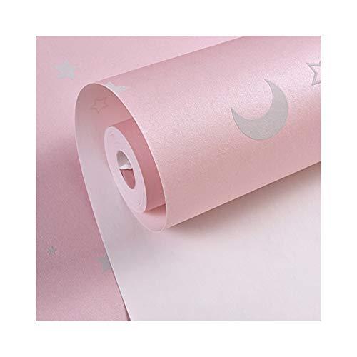 Glow Effect Night Sky Ontwerp Ster En Maan Lichtgevende Behang Kinderen Plafond Decor Fluorescerende Muur Papier Voor Kinderen Slaapkamer roze