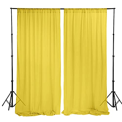 Chiffon Backdrop Curtain 5ftx7ft Yellow Voile Sheer Curtain 2 Panels Wedding Ceremony Backgrounds Chiffon Backdrop for Curtains Chiffon Fabric Drapes for Party Stage(5ftx7ft(30x84 x2), Yellow)