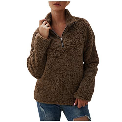 GreatestPAK Damen Winter Taschen Flauschig Reißverschluss Mantel Fleece Jacke Langarm Plüsch Pullover,Braun,XL