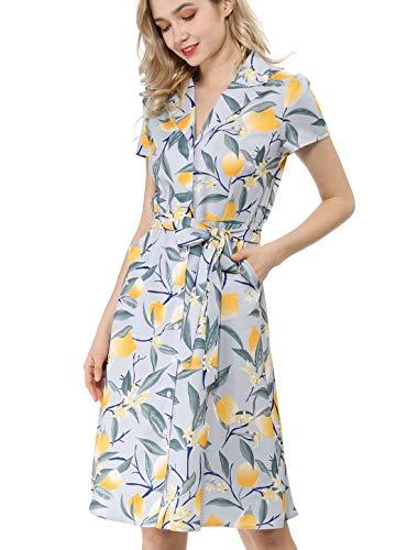 Allegra K Women's Lemon Print Button Down Pockets Tie Waist Shirt Dress Grey Blue L (US 14)