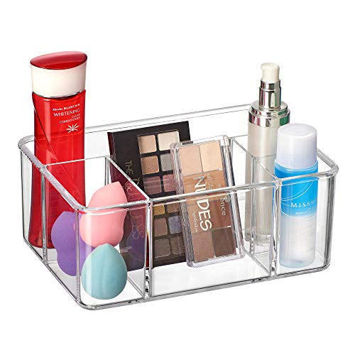 Amazing Abby - Glamour - Acrylic 5-Compartment Makeup Organizer, Transparent Plastic Beauty Supply Holder, Perfect Bathroom Vanity Storage Solution for Makeup Palettes, Makeup Brushes, and More