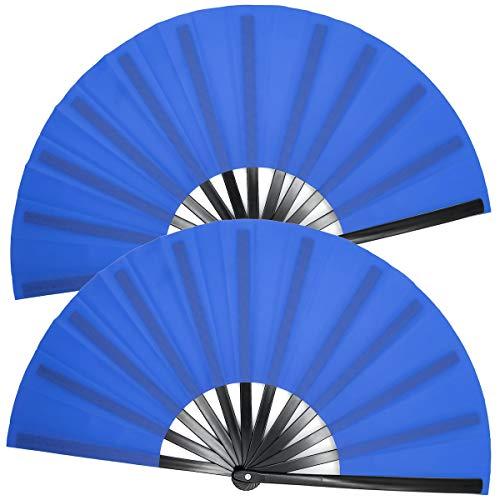OMyTea Large Kitana Rave Clack Folding Hand Fans for Men/Women - Chinese Japanese Kung Fu Tai Chi Handheld Fans - for EDM, Music Festival, Event, Party, Dance, Performance, Decoration (Blue, 2 Packs)