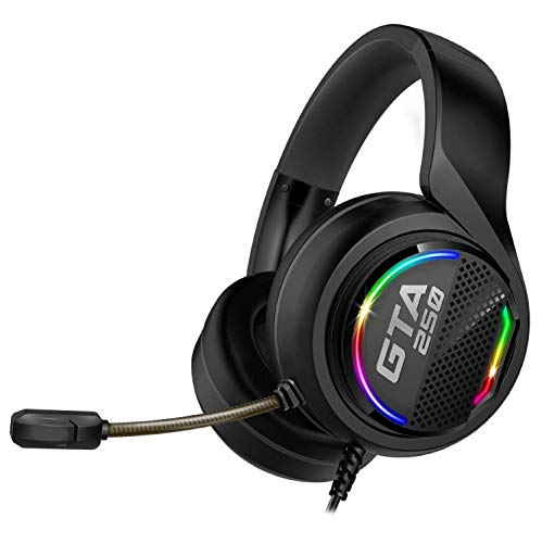 ADVANCE - GTA 250 - PC- und PS4-Gaming-Audio-Headset - Kunstleder - Flexibles Mikrofon - RGB-Regenbogen-LED - Einstellbares Kopfband - 7.1 Virtual Surround