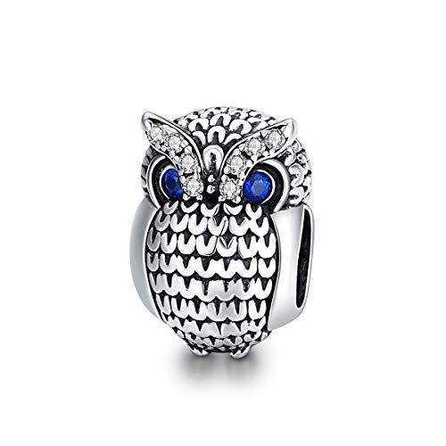 Abalorio de búho de plata de ley con cristales azules para pulseras...