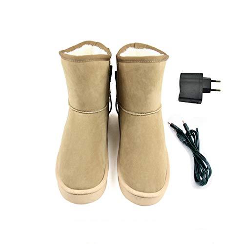 LanXi USB 5 V 10W wärmende Heizschuhe mt Karbon Heizelementen, mit weicher Sohle, GrößeS M L XL XXL, wärmende Hausschuhe, Wärmepolster, Fußwärmer, Aufwärmung Kalter Füße (37-38, Khaki (Frau))