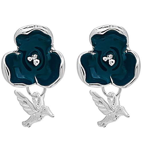 YLXAJKJGS-XCH Pendientes de Mujer Pendientes Vintage de Moda para Mujer Pendientes de Estilo Flor de pájaro Azul Pendientes de Moda Regalo de joyería