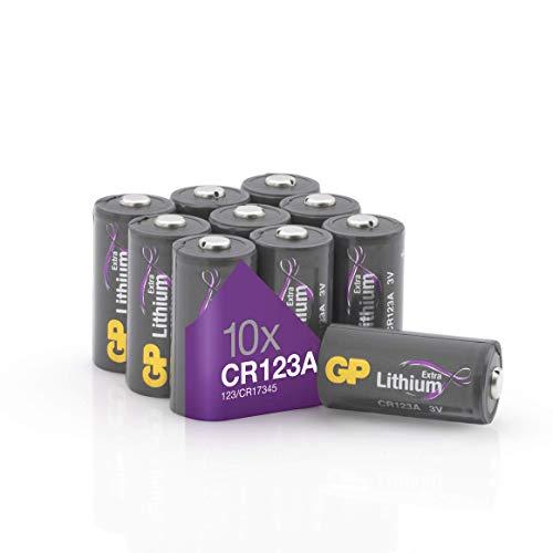 CR123A - Set da 10 Pile | GP Extra | Batterie al Litio CR 123 da 3V - Lunga Durata