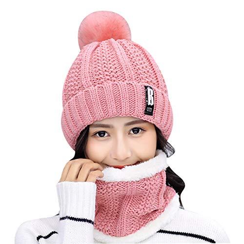 HIDARLING Zimowa czapka beanie i okrągły szalik zestaw dla kobiet ciepła dzianinowa czapka ze sztucznego futra pomponem pomponem i podszewką z polaru, czapki sportowe na świeżym powietrzu