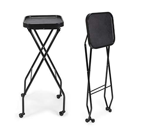 CALEB Fold-A-Way Salon Service Tray BLACK Rolling Service Tray for Barber Shop, Salon Furniture & Equipment