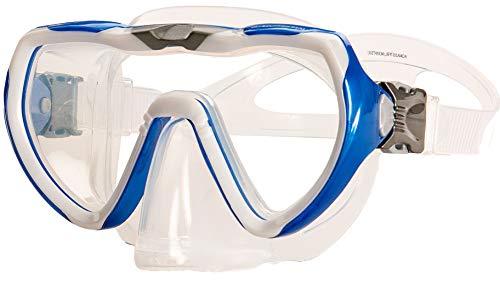 aquazon Starfish Junior Medium Schnorchelbrille, Taucherbrille, Schwimmbrille, Tauchmaske für Kinder, Jugendliche von 7-14 Jahren, Tempered Glas, Silokon, tolle Paßform, Farbe:blau Junior