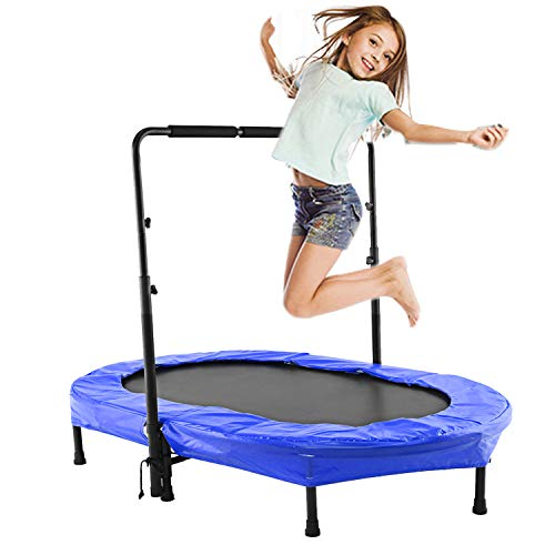 Eloklem Trampoline, Mini Trampoline Jumping Fitness for Children and Adults, Indoor/Outdoor Trampoline, Maximum Weight: 75 KG to 135KG (143 x 91cm, BLUE)