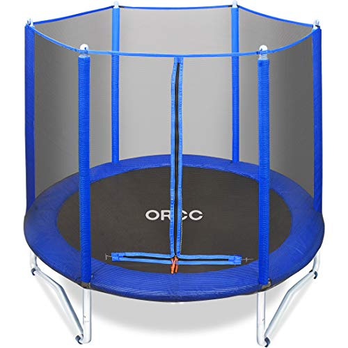 """ORCC 55""""/60"""" Kids Trampoline with Safety Enclosure Net, Spring Pad, Jumping Mat, Heavy Duty Steel Frame, Small Trampoline for Kids Indoor/Outdoor, Supports up to 220 Pounds, Perfect for Kids' Exercise"""