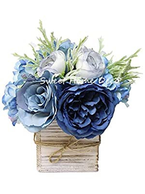 Sweet Home Deco 8'' Silk Rose Peony Hydrangea Mixed Flower Arrangement w/ Wood Vase Wedding Home Decorations