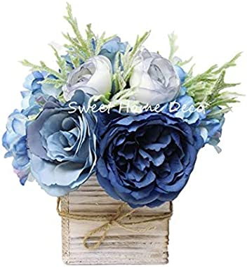 Sweet Home Deco 8'' Silk Rose Peony Hydrangea Mixed Flower Arrangement w/Wood Vase Wedding Home Decorations (Blue)