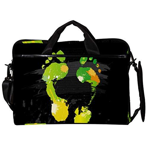 Grüner Fußabdruck Laptoptasche Canvas Umhängetasche Handtasche Geeignet Für 15-15.4 Zoll MacBook Air/MacBook Pro/Notebooks 381mm x 280mm