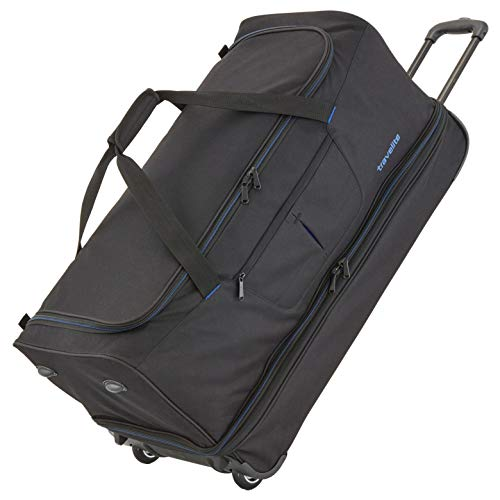 travelite 2-Rad Trolley Reisetasche Gr. L mit Dehnfalte, Gepäck Serie BASICS: Weichgepäck Reisetasche mit Rollen mit extra Volumen, 096276-01, 70 cm, 98 Liter (erweiterbar auf 119 Liter) schwarz