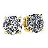 NANA 14k Gold Post & Sterling Silver 4 Prong CZ Stud Earrings -Yellow Gold Plated-7.5mm-3.00cttw