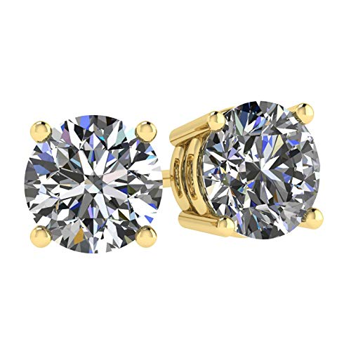 NANA 14k Gold Post & Sterling Silver 4 Prong CZ Stud Earrings -Yellow Gold Plated-5.5mm-1.50cttw