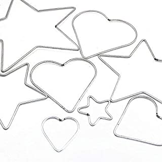 Grekywin DIY Craft Accessory Metal Star Heart Shaped Ring Hoop forDream Catcher and Crafts, 8 Pcs