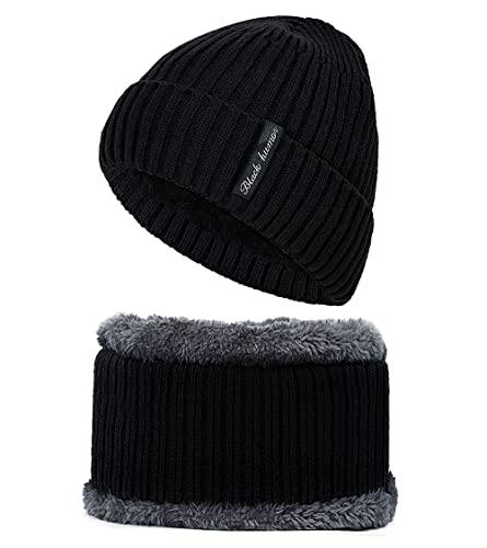 AcnA Gorro Invierno Hombre, Gorras Con Bufanda y Gorros de punto Sombreros de Invierno Hombre Mujer Unisexo Set, Lana Gorro de Punto Sombrero de Esquí para el Invierno