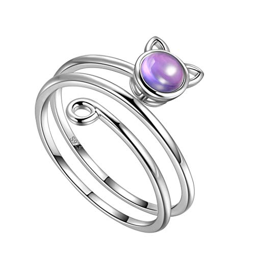 Animal Cat Wrap Ring with Birthstone Crystal Amethyst Adjustable Ring 925 Sterling Silver Purple Stone Kitty Cat Ring Women's Cocktail Ring Boho Jewelry FR0023F