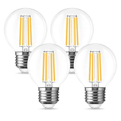 Bombilla de filamento LED, E27 G25 Vintage Forma de bombilla clásica, equivalente de 40 W, bombillas de bajo consumo de 4W, 470 lm, lámpara antigua retro, 2700K, no regulable, paquete de 4