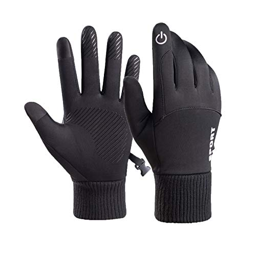 Winter Gloves, Mens Telefingers Gloves Waterproof Windproof Thermal Gloves for Sports, Working, Running, Cycling (Black)