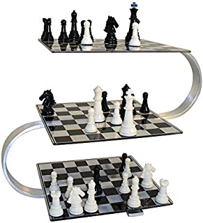 Tridimensional Chess Board The Object is for Players to Move Pieces Up or Down a Level on The Board Strategically Using Traditional Moves Made from Durable Lucite and is Framed with Stainless Steel