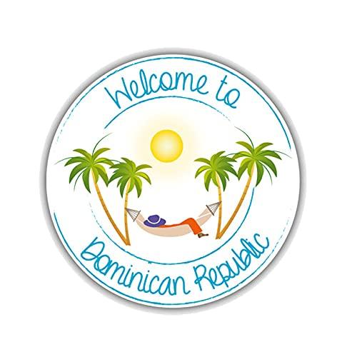 ZCZWQ Bienvenido a República Dominicana Viaje Color Vinilo Coche RV Motocicleta Cuerpo Scratch Pegatina Decorativa Calcomanía 13CMX13CM