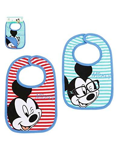 Set di 2 bavaglini per neonato, motivo: Topolino, blu e rosso, taglia unica