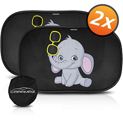 CARAMAZ Parasol Coche Infantil con protección UV - Autoadhesivo, para Proteger del Sol a bebés y Mascotas (2 Unidades), Parasol Coche bebé con Elefante