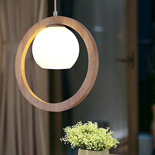 Nordic lampadario in vetro a forma di cerchio in legno, lampada a sospensione, arte zen, per soggiorno, sala da pranzo, camera da letto, illuminazione E27 (non inclusa)