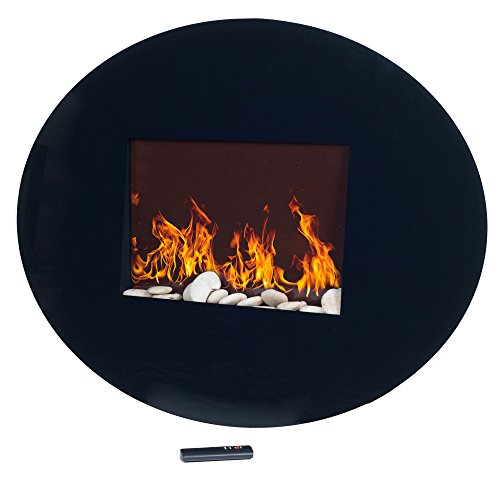 Northwest 80-EF456S Black Oval Glass Electric Fireplace with Wall Mount Décor Dining electric Features Fireplaces Home Kitchen
