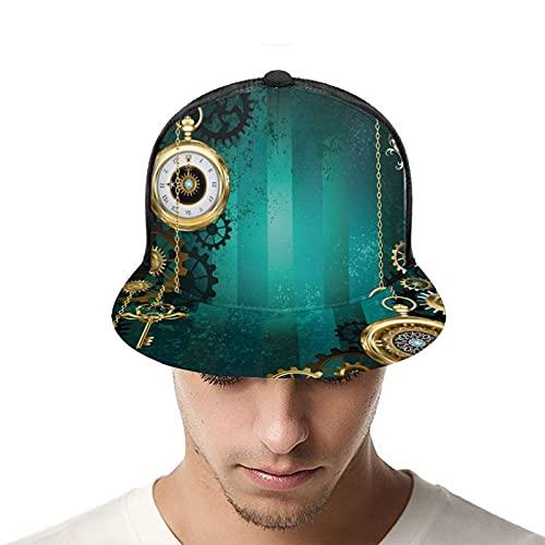 Yearinspace Gorra de béisbol unisex relojes antiguos Llaves Cadenas Steampunk impresión 3D Snapback Caps ajustable malla sombrero camionero sombreros negro